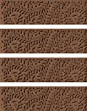"""Bungalow Flooring Waterhog Indoor/Outdoor Stair Treads, Set of 4, 8-1/2"""" x 30"""", Skid Resistant, Easy to Clean, Catches Water and Debris, Boxwood Collection, Dark Brown"""