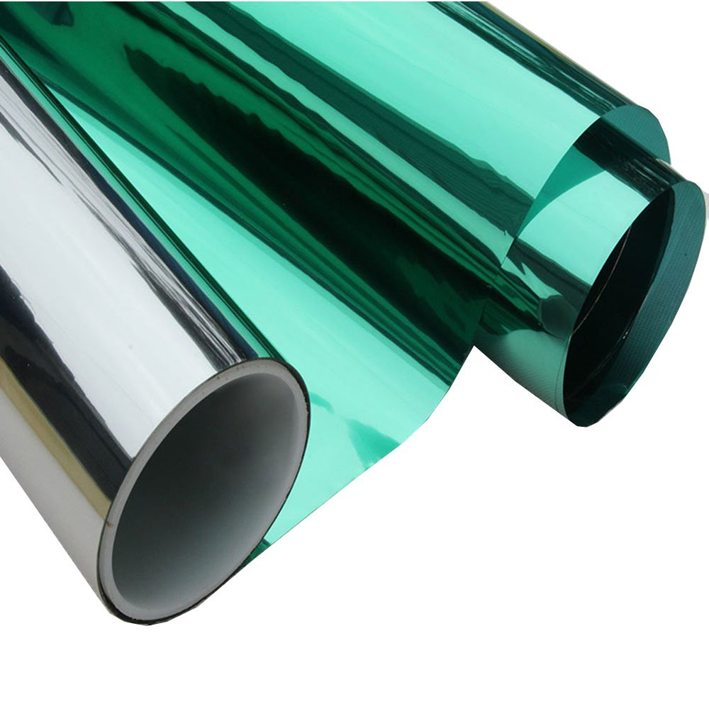HOHO Protector solar reflectante para ventana, color verde y plateado, Verde, 152cmx50cm
