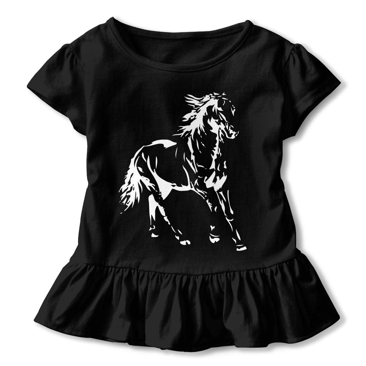 HYBDX9T Little Girls White Horse Funny Short Sleeve Cotton T Shirts Basic Tops Tee Clothes
