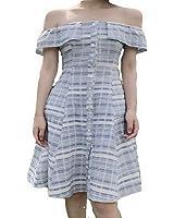 Celebritystyle w/B striped one shoulder midi short dress