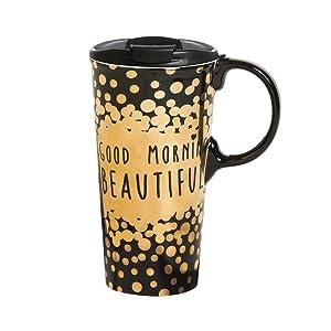 Cypress Home Ceramic Travel Mug with Gift Box, 17 ounces (Good Morning Beautiful)