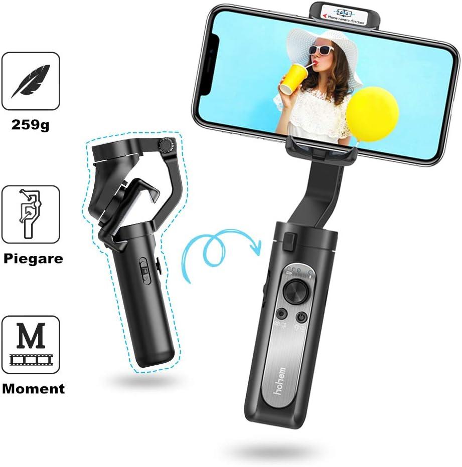 Estabilizador Móvil - Hohem Gimbal Móvil Plegable con 5 Modos para Vlog/Youtuber, 3 Ejes Estabilizador Carga de 280g Compatible con iPhone 11/Xs Max/Xr/Samsung Galaxy/Huaiwei/Xiaomi etc 【Versión 2020】