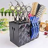 MissLytton Professional Salon Scissors Holder Rack, Hairdresser Scissor Storage Case Keeper, Modern Hairdressing Combs Clips Desktop Desk Organizer Accessories for Hair Stylist Office Home - Black