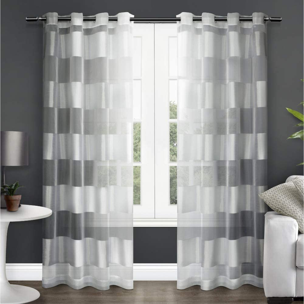 Exclusive Home Curtains Navaro Striped Sheer Window Curtain Panel Pair with Grommet Top, 54x108, Winter White, 2 Count