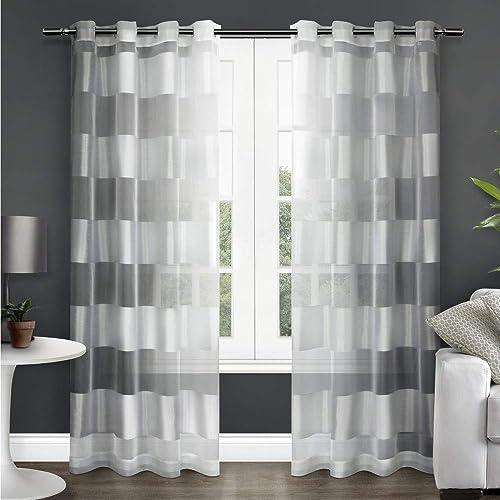 Exclusive Home Curtains Navaro Striped Sheer Window Curtain Panel Pair
