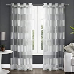 Exclusive Home Curtains Navaro Striped Sheer Window Curtain Panel Pair with Grommet Top, 54x96, Winter White, 2 Piece