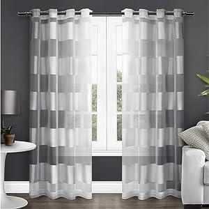 Exclusive Home Navaro Striped Sheer Grommet Top Curtain Panel Pair, Winter White, 54x84