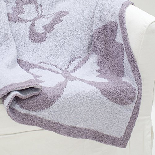 Chenille Baby Girl Blanket - Lambs & Ivy Signature French Lavender Blanket