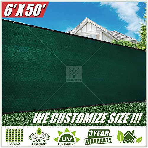 (ColourTree 2nd Generation 6' x 50' Green Fence Privacy Screen Windscreen Cover Fabric Shade Tarp Netting Mesh Cloth - Commercial Grade 170 GSM - Heavy Duty - 3 Years Warranty - CUSTOM SIZE AVAILABLE)