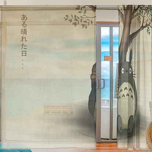 Meroy Fowler Anime Tonari No Totoro Tulle Curtain Sheer Curtains Drapery Window Treatment Curtain 2 Panels Each 55 x 78 Inch Review