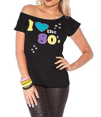 446ac5f3dc4de Ladies I Love The 80s Pop Star Fancy Retro T-Shirt Womens Fancy Dress Top  Tees  Amazon.co.uk  Clothing