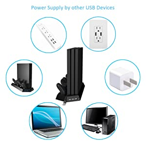 Kootek Vertical Stand for PS4 Pro with Cooling Fan, Controller Charging Station for Sony Playstation 4 Pro Game Console, Charger for Dualshock 4 (Not for Regular PS4/Slim)