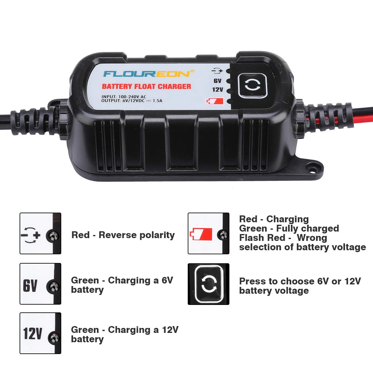 FLOUREON 6V/12V 1.5Amp Car Battery Charger Maintainer with LED Indicators Auto Trickle Charging for Automotive Vehicles Lawn Mower Boats RV AGM