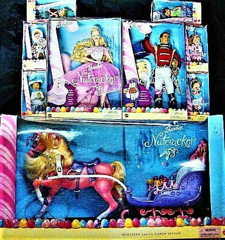 (Mattel 2001 Barbie Nutcracker Complete Set of Dolls and Accessories-Barbie as Sugar Plum Fairy, Ken as Prince Eric, All 6 Kelly and Tommy Dolls and Marzipan with Sleigh-New in Boxes (2001 Barbie))