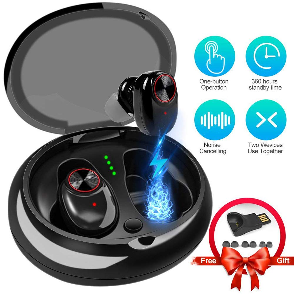 HUAXING Bluetooth Earphone Dual Earphone Wireless Earphone Stereo Music Bluetooth V5.0 Earphones with 1200mAh Charging Dock for Xiaomi Smartphone Game by HUAXING