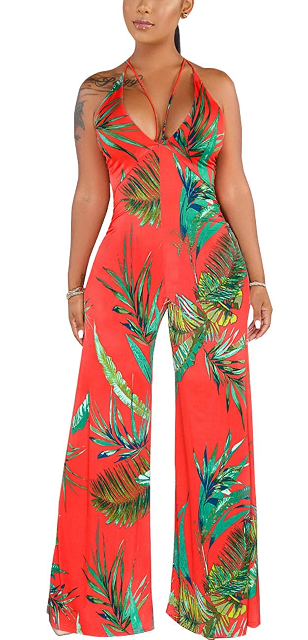 HannahZone Womens Casual Adjustable Spaghetti Strap Jumpsuits Bodycon Sleeveless Long Pants Elegant Rompers with Pockets.