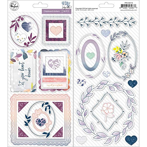 - Pink Fresh PFRC500718 Indigo Hills 2 Chipboard Scrapbook Stickers