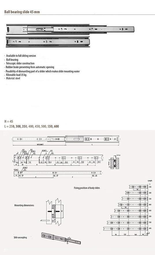 FURNICA 2x Guía para cajón ranurado H45mm / L: 300mm: Amazon.es: Bricolaje y herramientas