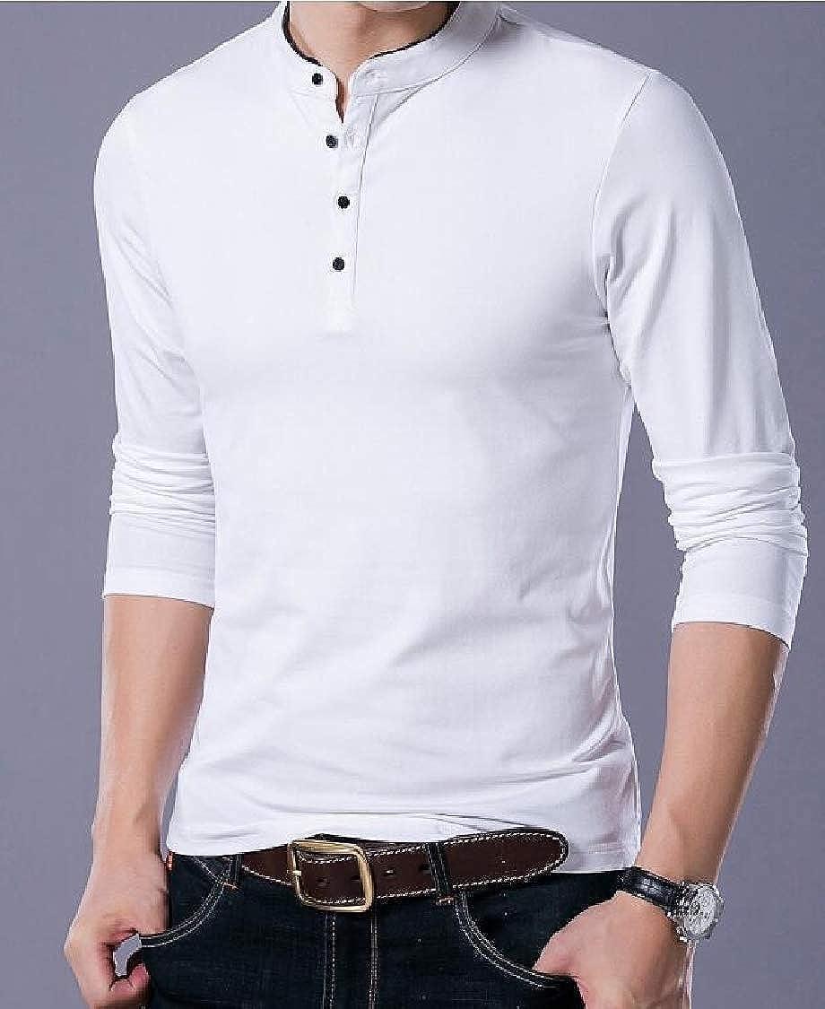 pipigo Men Casual Long Sleeve Button Pullover Stand Collar Polos T-Shirt Top