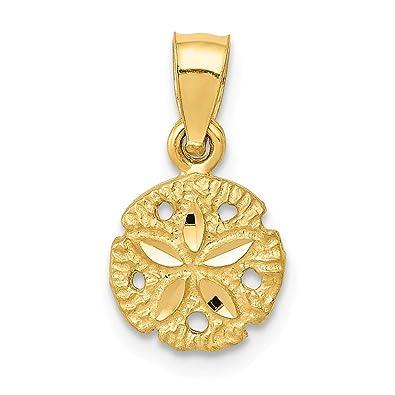 1aebc6bed Amazon.com: Jewel Tie 14K Yellow Gold Sand Dollar Pendant - (0.59 in ...