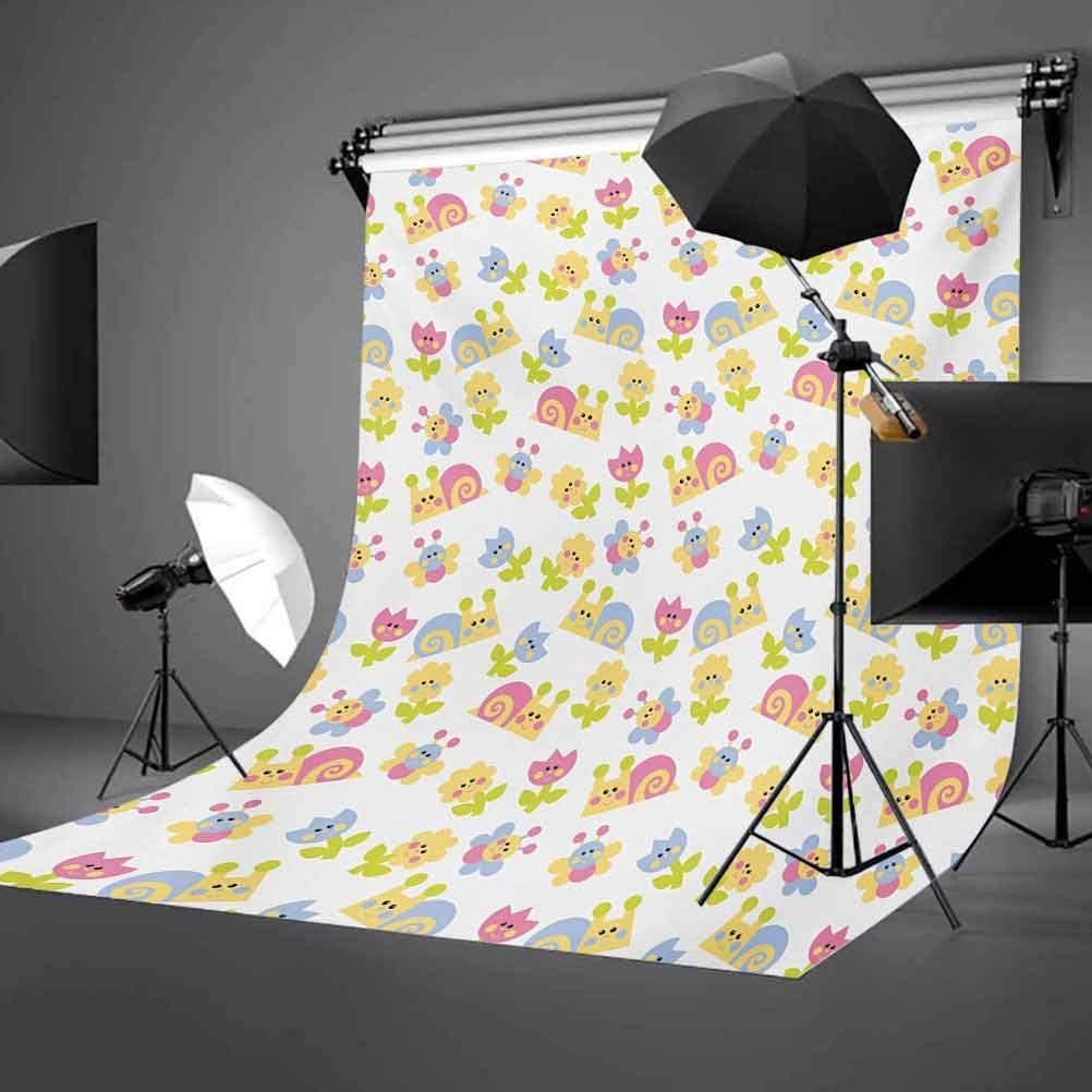 10x15 FT Backdrop Photographers,Nature Inspired Drawing Style Happy Slugs Dandelions Tulips and Butterflies Background for Baby Shower Birthday Wedding Bridal Shower Party Decoration Photo Studio