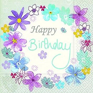20 Servilletas Cumpleaños Flores Happy Birthday 25 X25 cm 3 ...