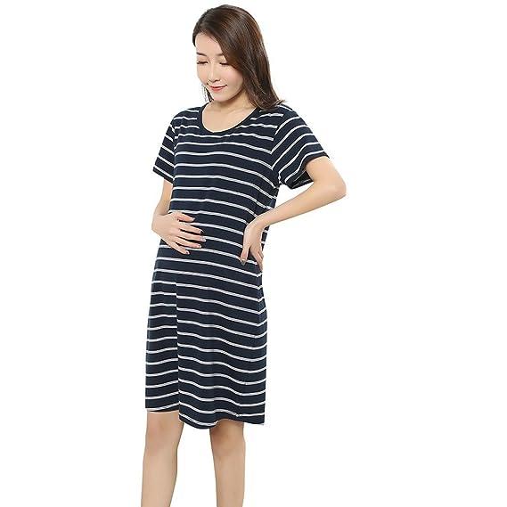 Cinnamou Vestido manga corta a rayas moda maternidad Ropa ropa premamá verano: Amazon.es: Ropa y accesorios