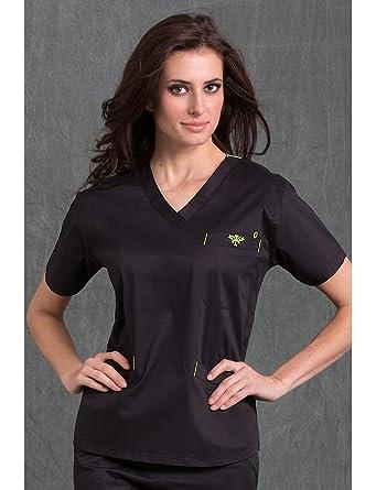 d7b40a65aa1 Amazon.com: MedCouture by Peaches Women's Signature V-Neck Scrub Top  (Black/Kiwi Medium): Medical Scrubs Shirts: Clothing