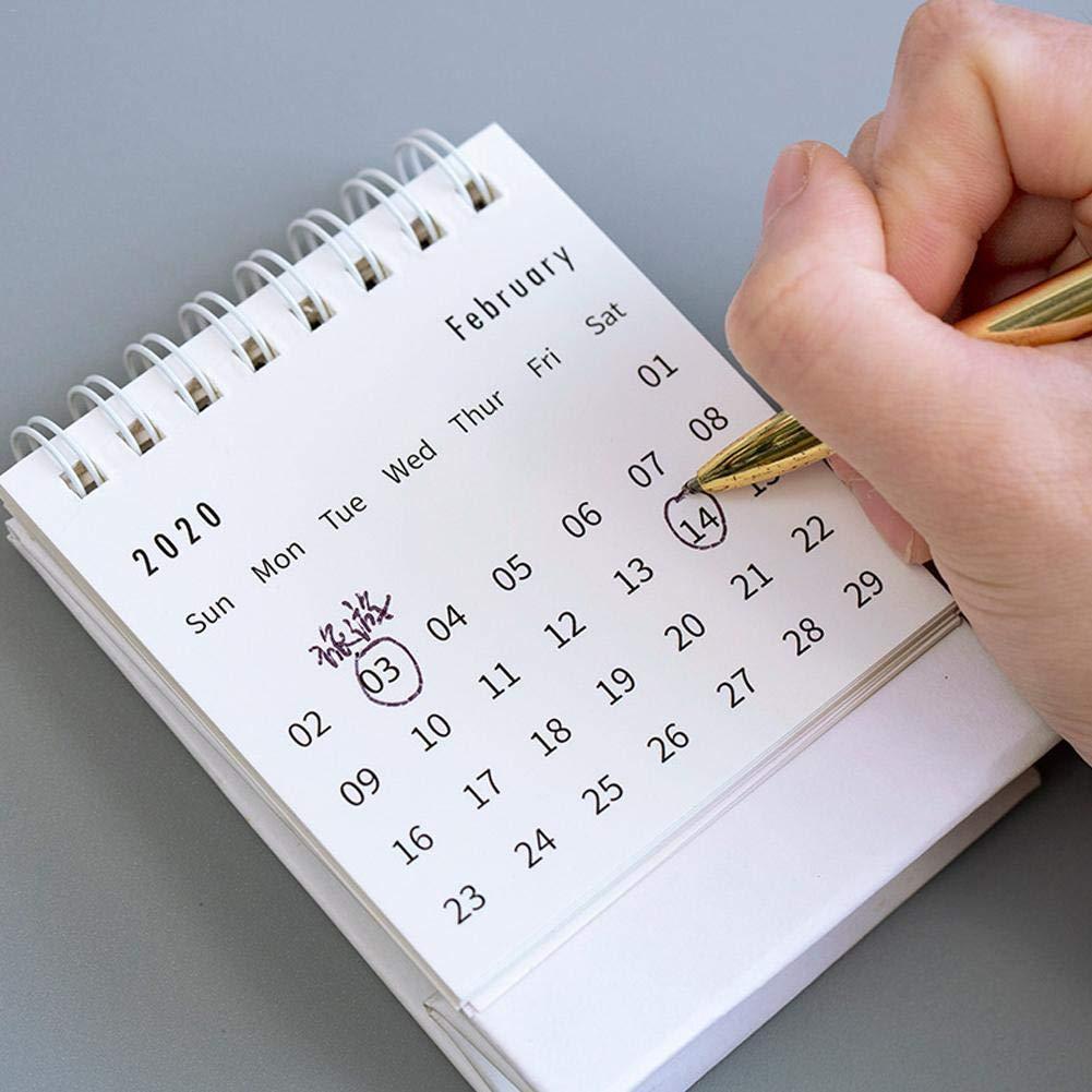 Calendario da Tavolo 2020,semplicit/à Bobina Calendario da Tavolo Mini 2020 Innovativa Flip Calendario Scrivania Calendario Decorativo