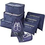 8 pcs Travel Packing Cubes - Luggage Organizers Waterproof Travel Storage Bags Clothes with Shoe Bag (Navy)