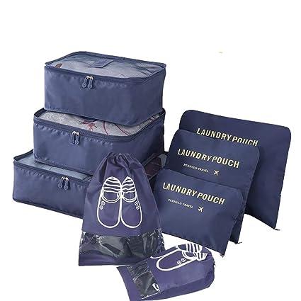8 Set Organizadores de Viaje para Maletas, Bolsas de Equipaje Impermeable Cubos Embalaje de Viaje Bolsas de Almacenamiento para Ropa Zapatos, ...