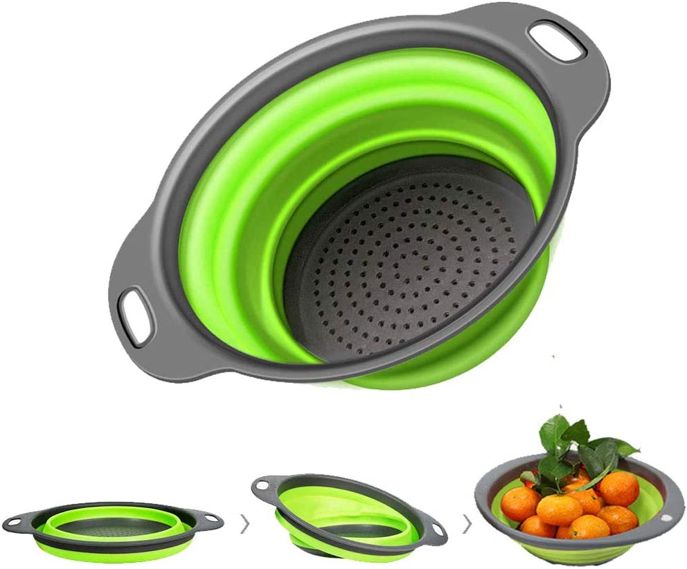 Kitchen Collapsible Colander, 2 Collapsible Set, Aspark Food-Grade Silicone Strainer Space-Saver Folding Strainer Colander, Sizes 8 inches-2 quart and 9.5 inches 3 quart (Large-1pcs(green)