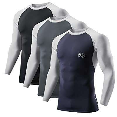 Mens Compression Tight Base Layer Skin Top Under Shirts Sports Gym Long Sleeves