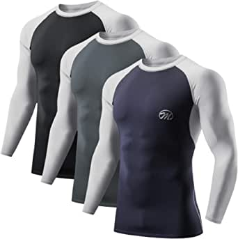 MEETWEE Men's Compression Shirts, Dry Fit Long Sleeve Base Layer Top Cool Undershirts Sport Fitness Athletic Workout T-Shirts