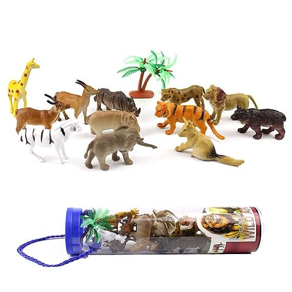 Consoladores 12 piezas Micro paisaje adornos plástico simulado Animal figura juguete jardín decoración: Amazon.es: Hogar