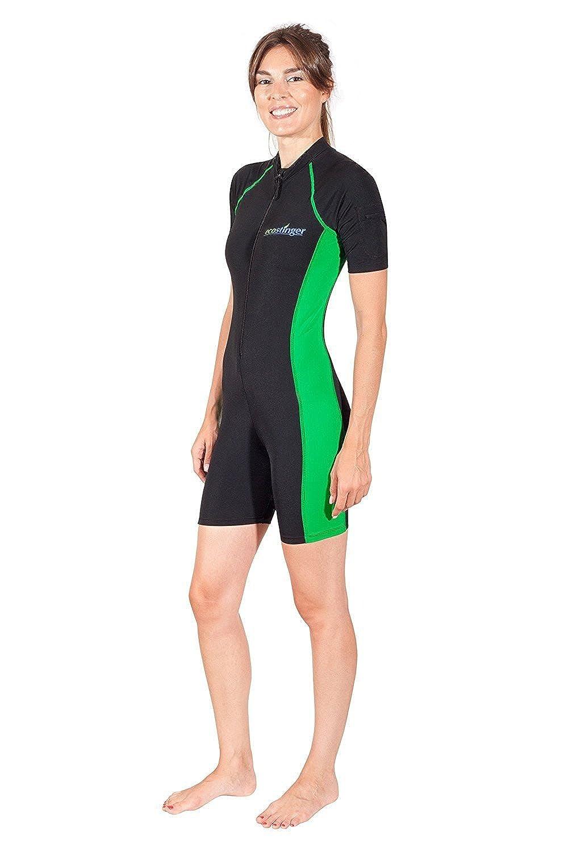 Women Full Body Sunsuit UV Protection Swimsuit Short Sleeves UPF50+ Black Lime A101-CA