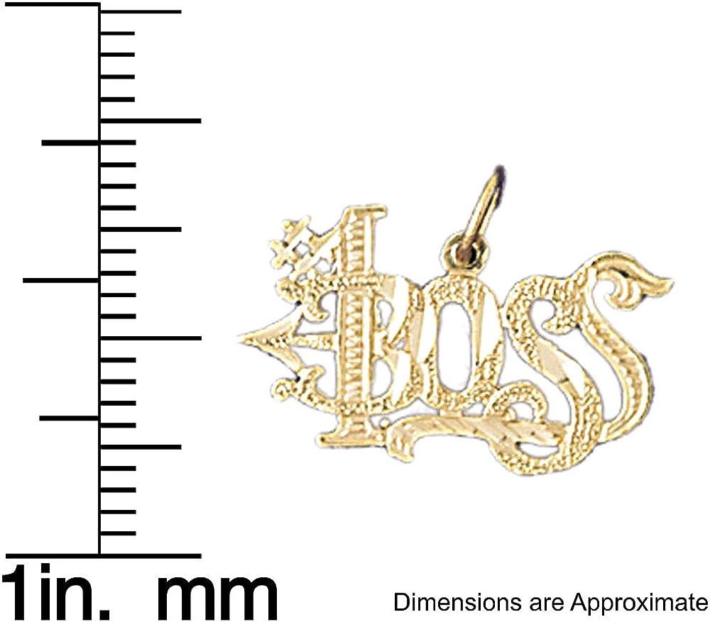 14k Yellow Gold #1 Boss Pendant 20mm x 12mm