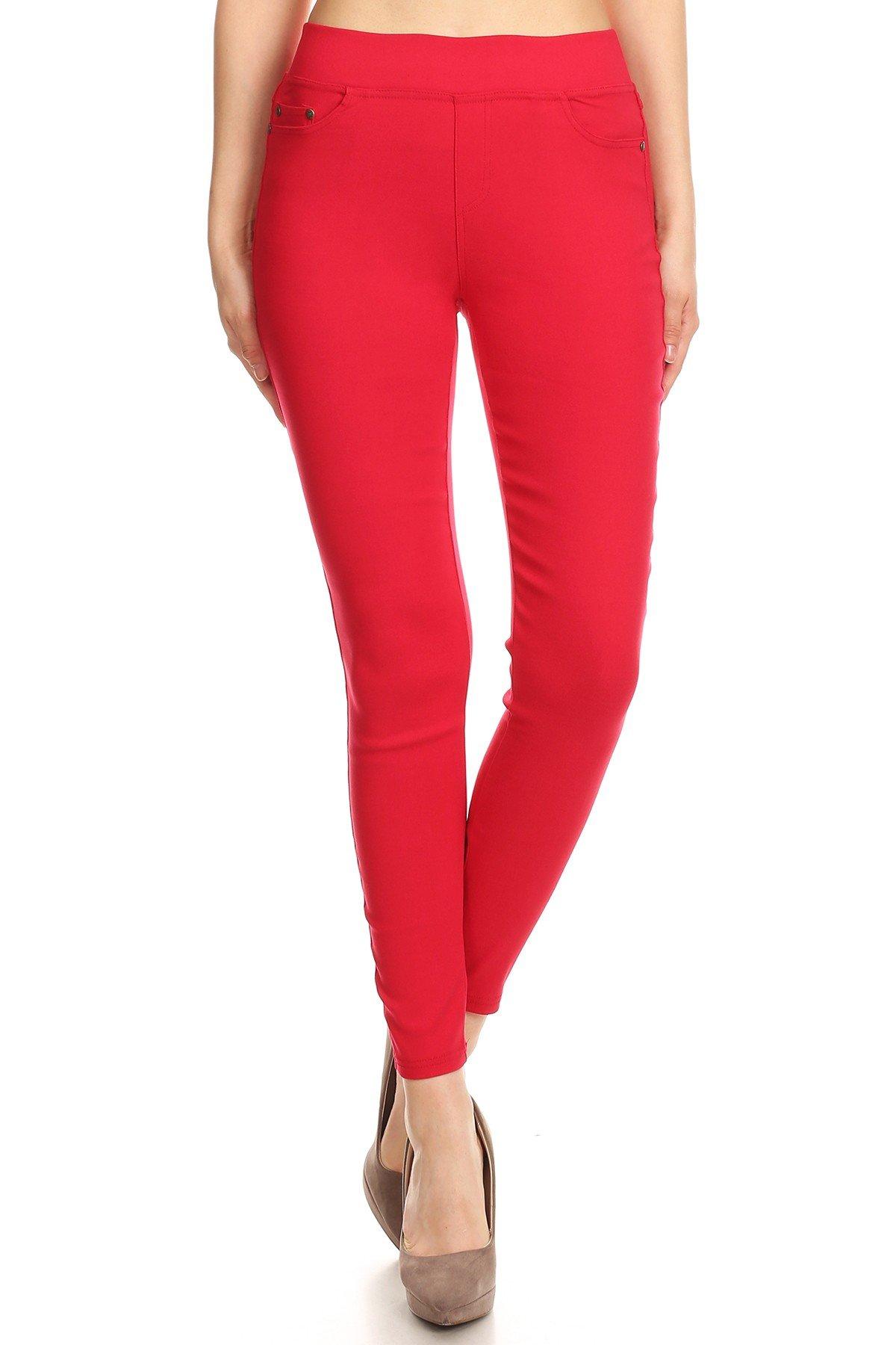 MissMissy Women's Casual Color Denim Slim Fit Skinny Elastic Waist Band Spandex Jeggings Ankle Jeans Pants (Small, Red)