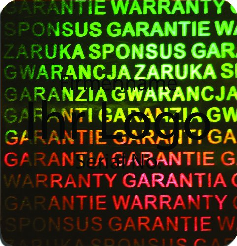 EtikettenWorld BV, EW-H-3100-67-ts-700, 700 Stück Hologrammaufkleber, 2D, 20x20mm grünfarbige Metallfolie, bedruckt in schwarz mit Ihrem Wunschtext Logo, Hologramm Etiketten, selbstklebend, Hologramm Aufkleber, Sicherheitssiegel, Garantiesiegel,