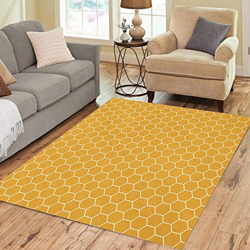 Pinbeam Area Rug Yellow Abstract Honeycomb Pattern Attached Bee Collection Connection Home Decor Floor Rug 2' x 3' Carpet