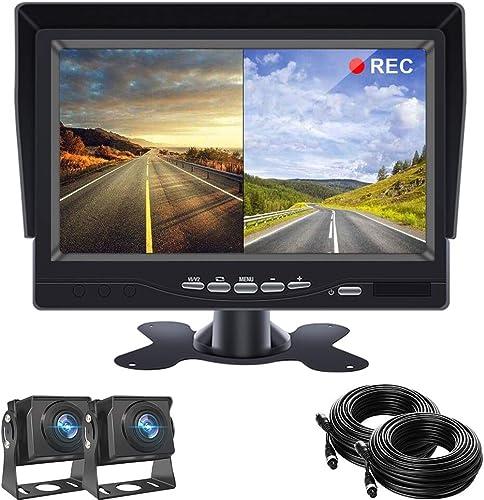 Backup Camera for Trucks,7 inch TFT LCD Reversing Camera Monitor with 2 Wide-Angle 170 Reversing Camera IP68 Waterproof Night Vision for Vans,Camping Cars,School Bus,RVs