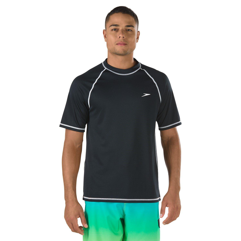 Flgoo 2 Pack Men's UPF 50+ UV Sun Protection Outdoor Short Sleeve Performance with Speedo Swim Competiton (Black, XX-Large) by Flgoo