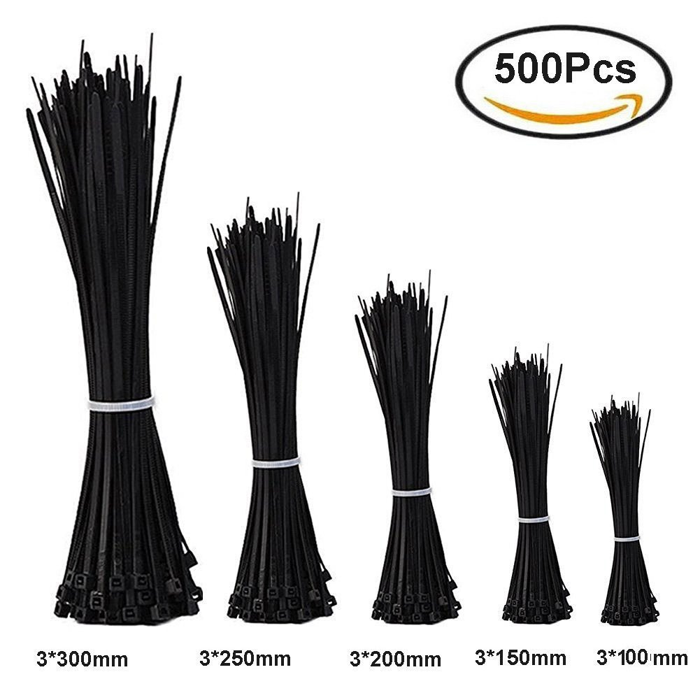 500 Pcs Zip Ties Nylon Cable Ties,Duty Nylon Cable Ties Reusable for Home Office Garage Workshop, 4, 6, 8,10, 12 Inches Black