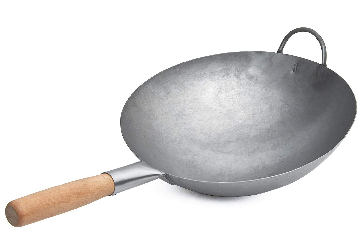 Cast Iron Wok Pan Traditional Hand Hammered Uncoated Non-Stick Fry Pan Cookware with Helper Wooden Handle (14 Inch, Round Bottom Wok)