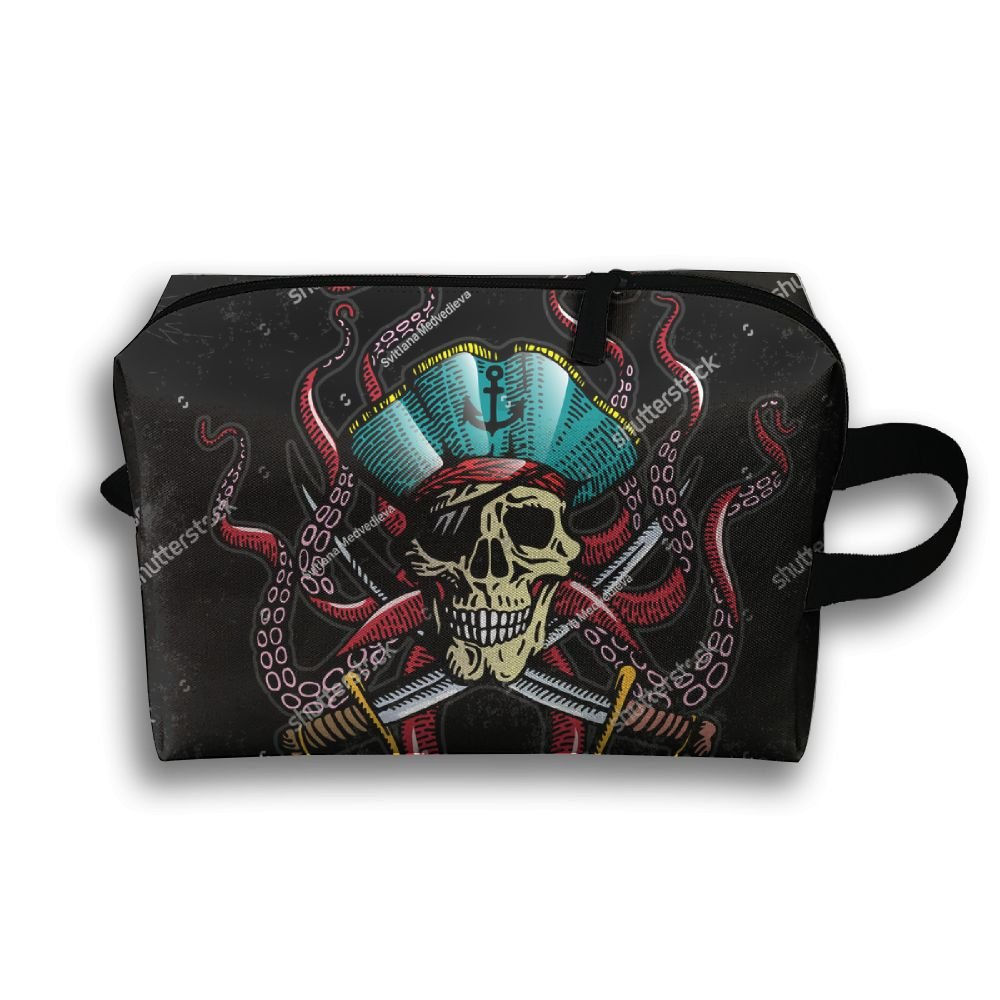 0dcc9a93291c 60%OFF Pirate Skull Octopus Small Travel Toiletry Bag Super Light Toiletry  Organizer For Overnight
