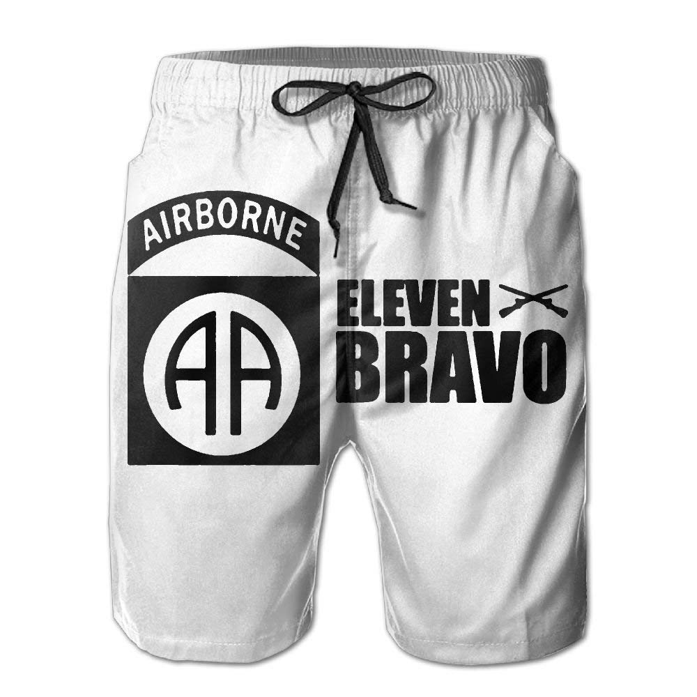QQMIMIG Mens Fashion Quick Dry Beach Short Us Army 82nd Airborne Division Casual Boardshort
