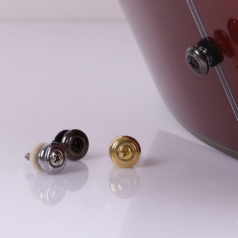 Black Gold Silver Kasteco 6 Pieces Mushrooms Head Guitar Strap Buttons Strap Locks Chrome