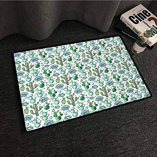 DILITECK Non-Slip Door mat Cactus Hand Painted Style Exotic Plant Collection Saguaro Prickly Pear Succulents Spikes Hard and wear Resistant W16 xL24 Multicolor ()
