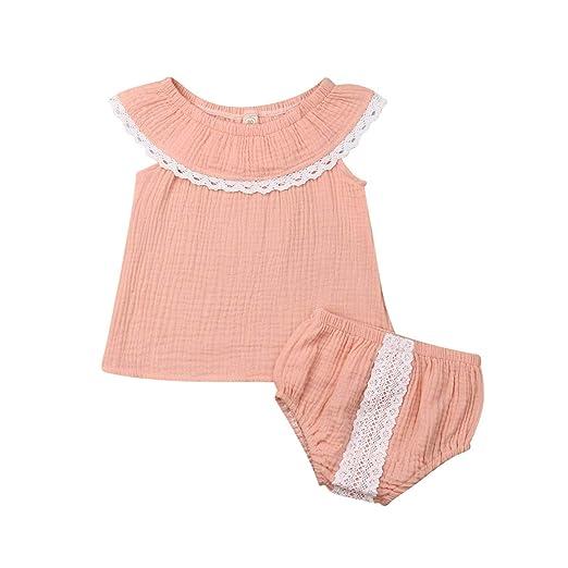 54efc27f3 Madjtlqy Summer Kids Baby Newborn Girl Sleeveless Bodysuits Cotton Flutter  Sleeve One-Piece Outfits Clothes
