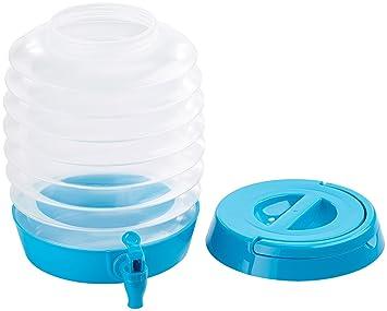 Pearl Bidón de Agua: Plegable fässchen, Grifo, Soporte, 5,5 L, Color Azul/Transparente (Fiesta Camping dispensador de Bebidas): Amazon.es: Jardín